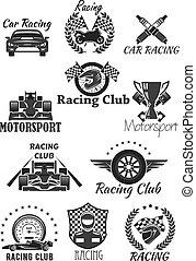 jogo, clube, motorsport, símbolo, isolado, correndo
