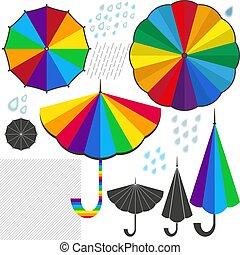 jogo, coloridos, isolado, elementos, desenho, guarda-chuvas