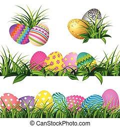 jogo, coloridos, primavera, ovos, verde, fronteiras, capim, páscoa, dia