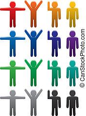 jogo, coloridos, símbolos, vetorial, vário, poses, homem