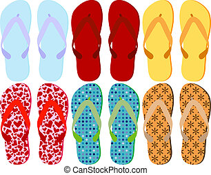 jogo, coloridos, sandálias, 6