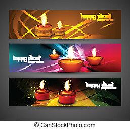 jogo, coloridos, vecto, diwali, cabeçalhos, luminoso, desenho, elegante, feliz