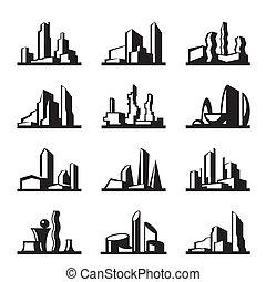 jogo, construção, modernos