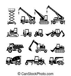 jogo construção, silueta, objetos, veículos