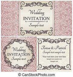 jogo, cor-de-rosa, barroco, convite casamento