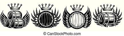 jogo, coroa, vetorial, barril, ilustrações, monocromático, asas