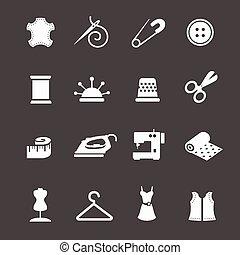 jogo, cosendo, needlework, equipamento, vetorial, ícone