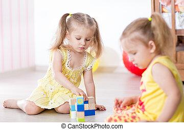jogo, crianças, amigos, junto