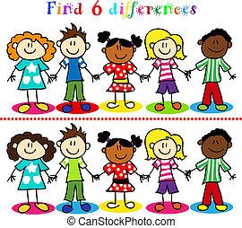 jogo, crianças, figuras, vara, diferença