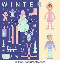 jogo, crianças, roupas inverno