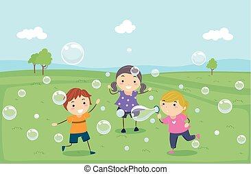 jogo, crianças, stickman, bolhas, ilustração