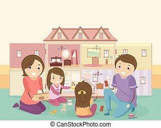 jogo, crianças, stickman, família, boneca, casa, menina