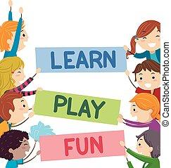 jogo, crianças, stickman, texto, aprender, divertimento, bandeiras