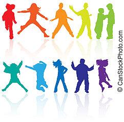 jogo, dançar, colorido, reflexão., adolescentes, pular, silhuetas, vetorial, posar
