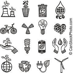 jogo, desperdício, ecologia, ícones