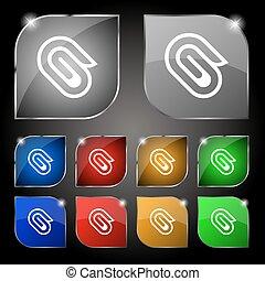 jogo, dez, clip, sinal., glare., botões, vetorial, papel, coloridos, ícone