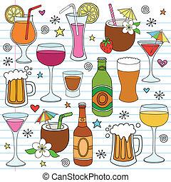 jogo, doodle, cerveja, vetorial, vinho, bebidas