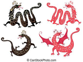 jogo, dragão chinês