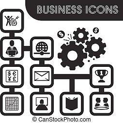 jogo, esboço, ícones negócio