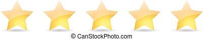 jogo, estrela, ouro, ilustração, vetorial, 5