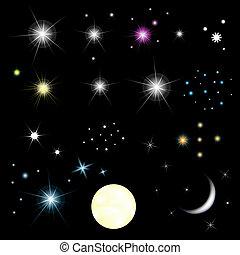 jogo, estrelas, lua