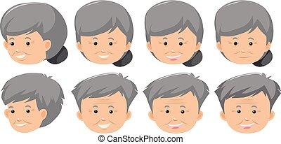 jogo, expressão, facial, idoso