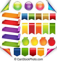 jogo, fitas, coloridos, etiqueta