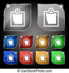 jogo, folha, coloridos, dez, sinal., glare., botões, vetorial, papel, ícone