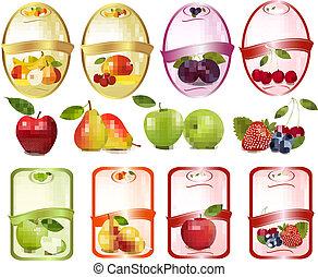 jogo, fruta, baga, etiquetas