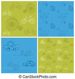jogo, -, fundos, seamless, bicicletas, desenho, carros, scrapbook
