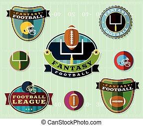jogo, futebol, americano, ilustração, fantasia, emblemas