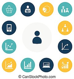jogo, gráfico, arquitetura, bolsa, torta, símbolos, infographic, negociar, estatística, design., ser, usado, editable, icons., inclui, teia, tal, more., móvel, 13, ui, lata
