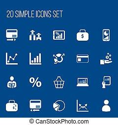 jogo, gráfico, torta, símbolos, infographic, negociar, estatística, design., informação, 20, gráfico, ser, usado, editable, teia, inclui, icons., tal, more., móvel, bolsa, ui, lata