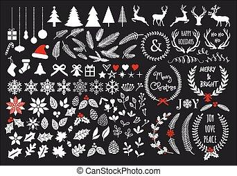 jogo, grande, branca, vetorial, natal