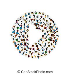 jogo, grupo, illustration., pessoas, sinal., forma, vetorial