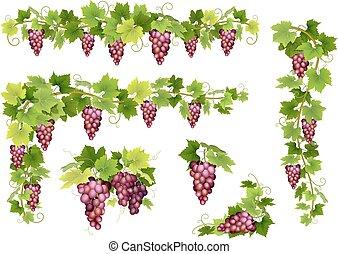 jogo, grupos, uvas, vermelho