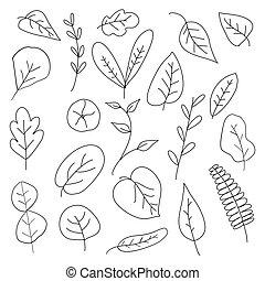 jogo, hand-drawn, doodle, vetorial, folhas