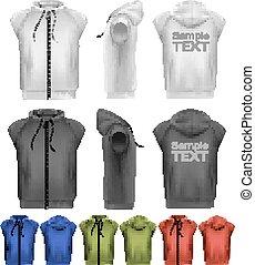 jogo, hoodies, coloridos, zipper., vetorial, pretas, macho branco