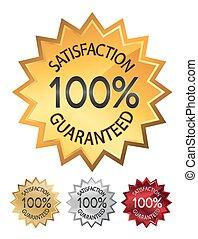jogo, illustration., 100%, guaranteed, selos, satisfação, vetorial