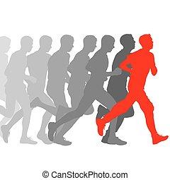 jogo, illustration., silhouettes., men., vetorial, corredores, sprint