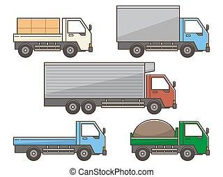 jogo, ilustração, branca, caminhão, fundo