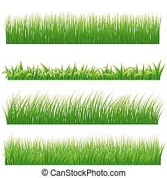 jogo, ilustração, vetorial, verde, white., fronteiras, capim