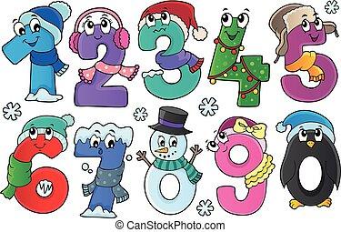 jogo, inverno, números, tema, 1