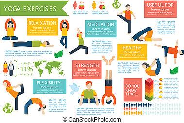 jogo, ioga, infographics