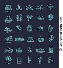 jogo, linear, ícone, simples, marcos, global, vetorial, férias, destinos, representando, viagem, turista
