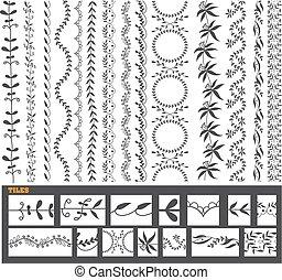 jogo, mão, vetorial, desenhado, linha, borda