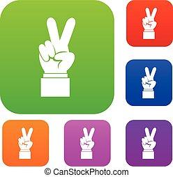 jogo mão, vitória, cobrança, sinal