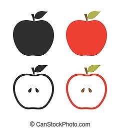 jogo, maçãs, ícones