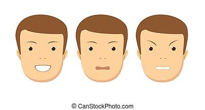 jogo, macho, emotions., facial