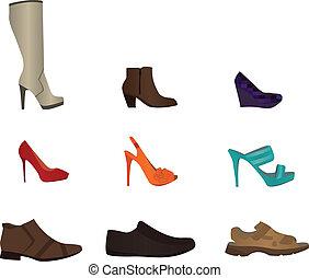 jogo, macho, sapatos, femininas